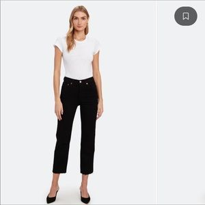 RE/DONE Stovepipe Hi Rise Raw Hem Crop Jeans